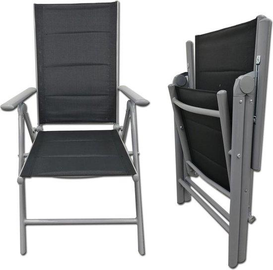 Tuinstoel inklapbaar verstelbaar 7 standen - campingstoel lichtgewicht - extra zitcomfort - lichtgrijs
