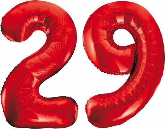 Folieballon 29 jaar rood 86cm