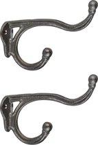 2x Wandhaken/kapstokhaken industrieel zwart  - 11 x 17 cm - gietijzer - Kapstok ophanghaken - Dubbele haken - Bevestigingsmateriaal