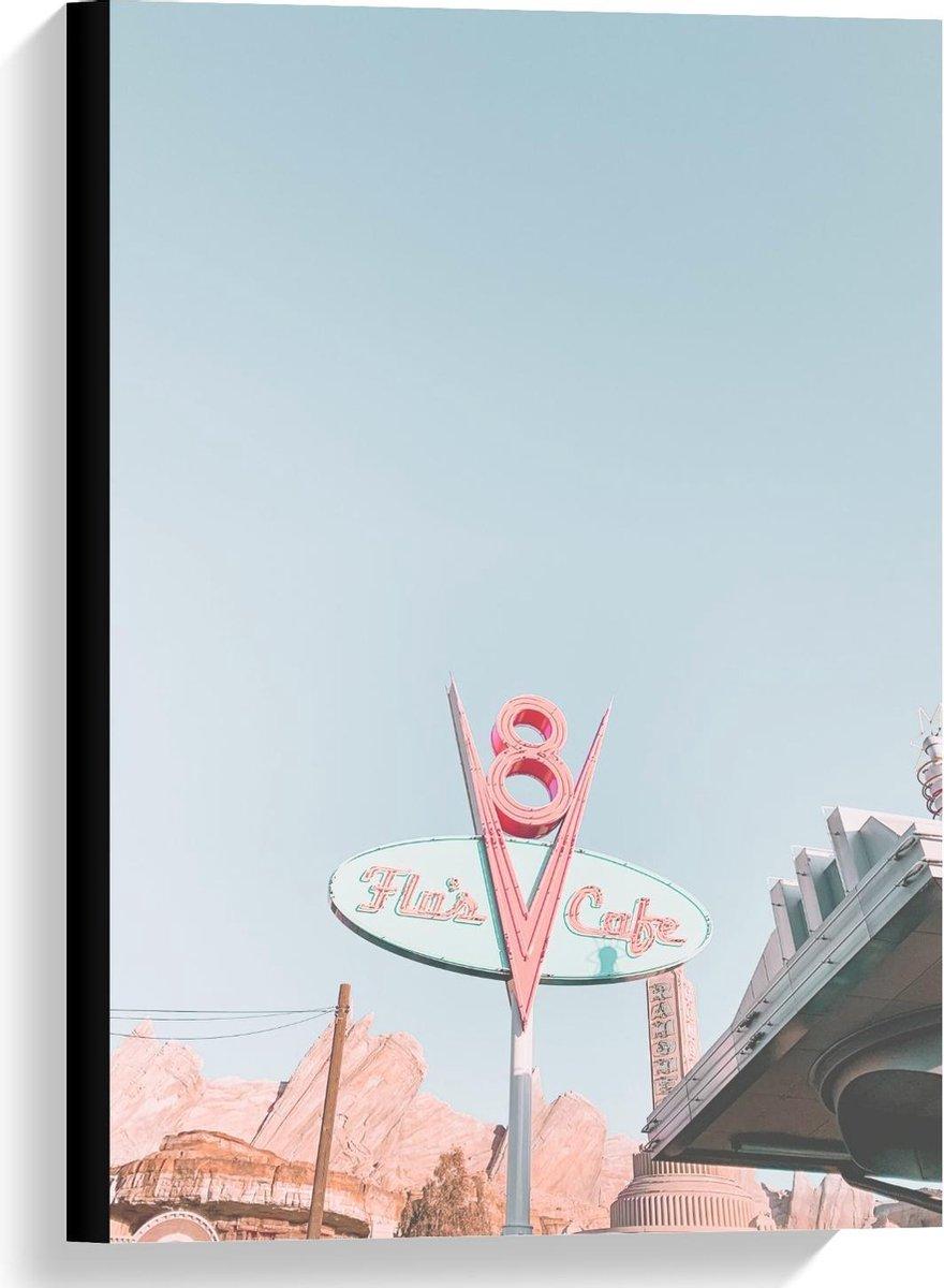 Canvas  - Pastelkleurig Bord langs de Weg - 40x60cm Foto op Canvas Schilderij (Wanddecoratie op Canvas)