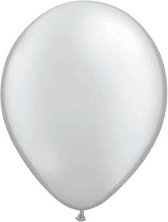 50x stuks Metallic zilveren ballonnen - Feestartikelen versiering