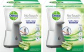 Dettol No-Touch - Automatische Zeepdispenser Zilver incl Aloë Vera Navulling - 250 ml - 2 stuks