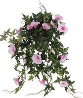 Mica Decorations Petunia Hangende Kunstplant in Bloempot - L50 x B45 x H25 cm - Roze
