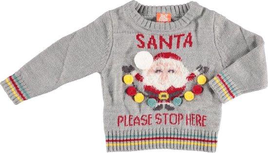 Grijze baby kersttrui/foute kersttrui Santa Please Stop Here - Foute kersttruien jongens/meisjes - Kerst trui/sweater voor baby 56/62 (1-4 mnd)