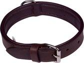 Dielay - Luxe Halsband voor Honden - Echt Leer / Leder - Maat M - 53x2,5 cm - Bruin