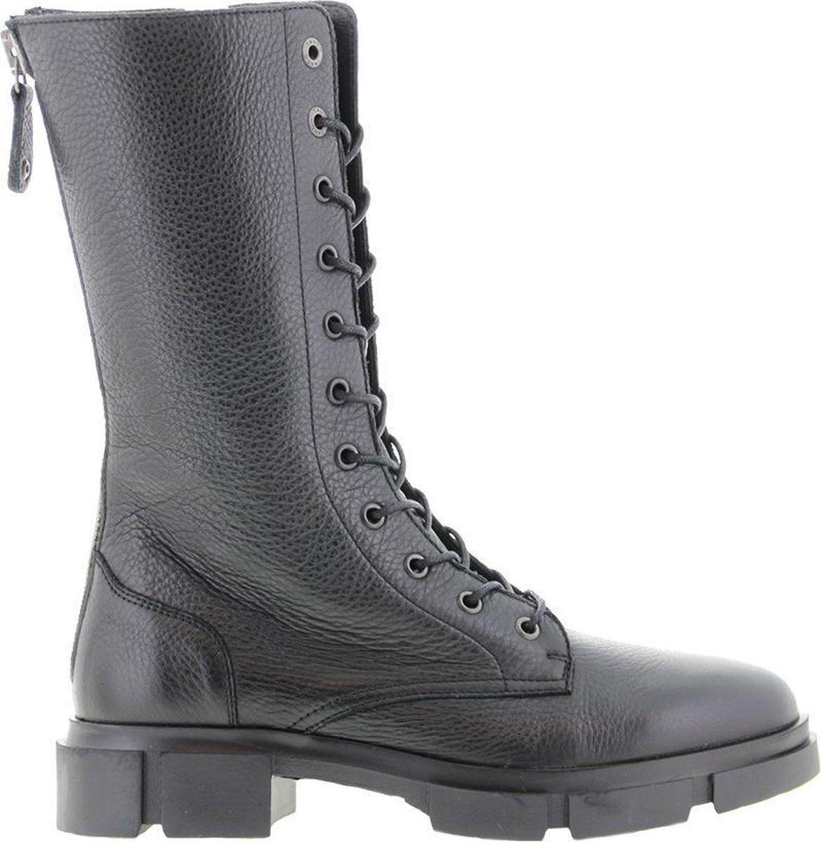 Tango | Romy 3-b black leather boot/metal zipper strap - black sole | Maat: 41