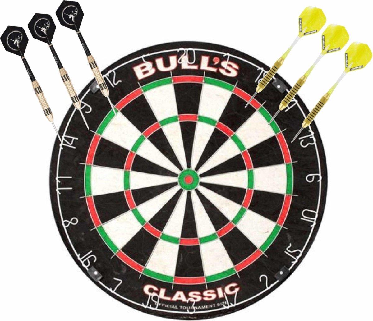 Professioneel dartbord Bulls The Classic incl 2 sets dartpijlen 21 grams - Sportief spelen - Darten/darts - Dartborden voor kinderen en volwassenen.