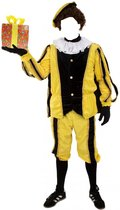 Piet pluche zwart/geel (mooie kwaliteit voor buiten) Maat M/L  - piet pak sinterklaas feest