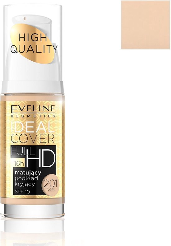 Eveline – Ideal Cover Full Hd Foundation Spf10 Mattifying Cover Primer 201 Ivory 30Ml
