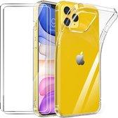 iPhone 12 Mini Hoesje Transparant  TPU Siliconen Soft Case + 2X Tempered Glass Screenprotector