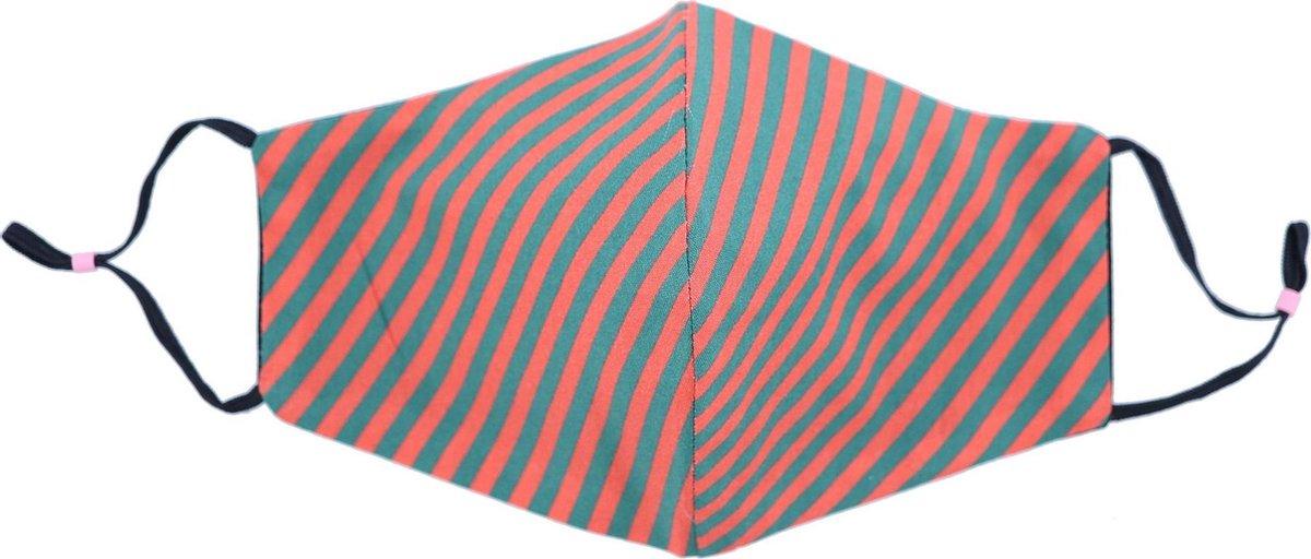 Mondkapje wasbaar - verstelbaar - 100% Katoen -Rood/Groen - Strepen