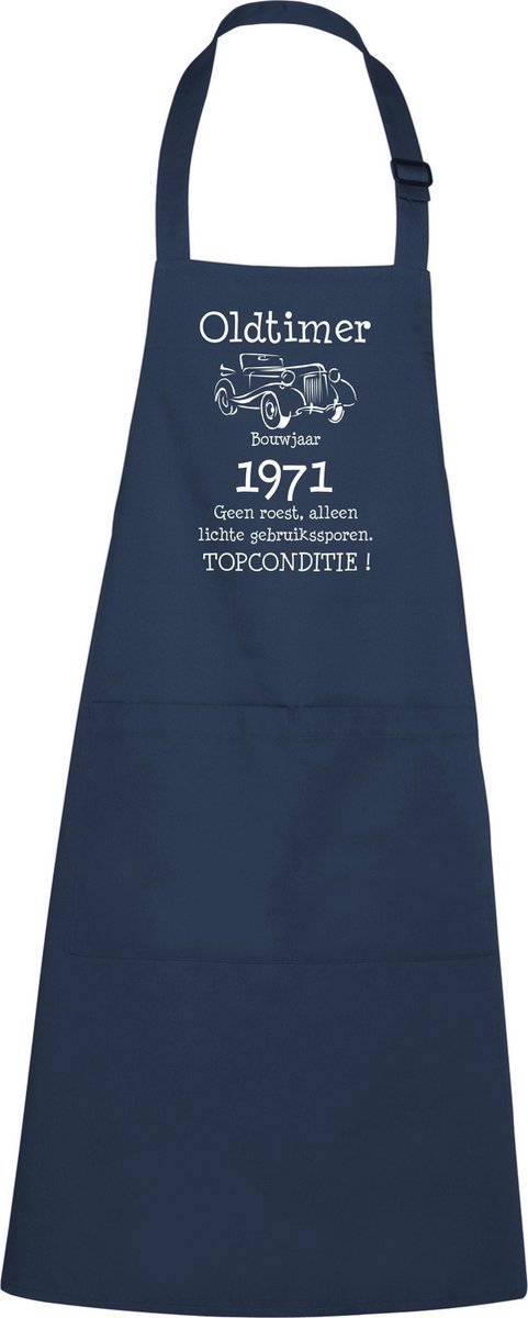 Keukenschort - BBQ schort - Oldtimer - Jaartal 1971 - navy / blauw