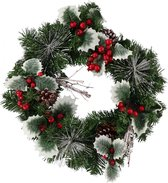 Christmas Gifts Kerstkrans Hulst 40 Cm Textiel Groen/rood