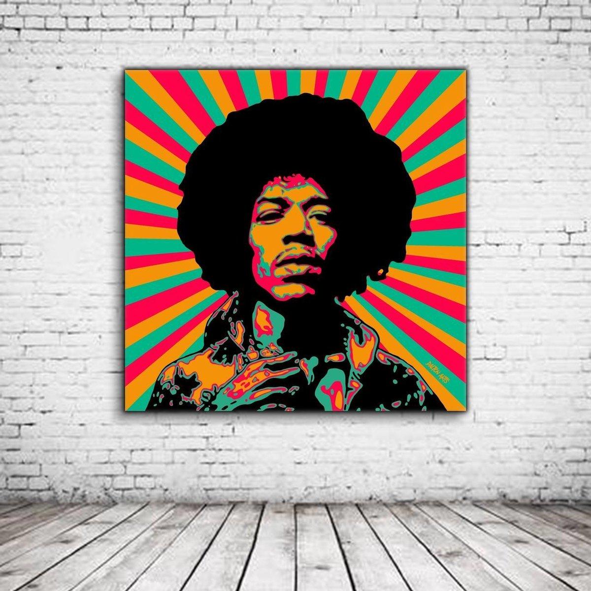 Pop Art Jimi Hendrix Poster - 90 x 90 cm Fotopapier Mat 180 gr - Popart Wanddecoratie
