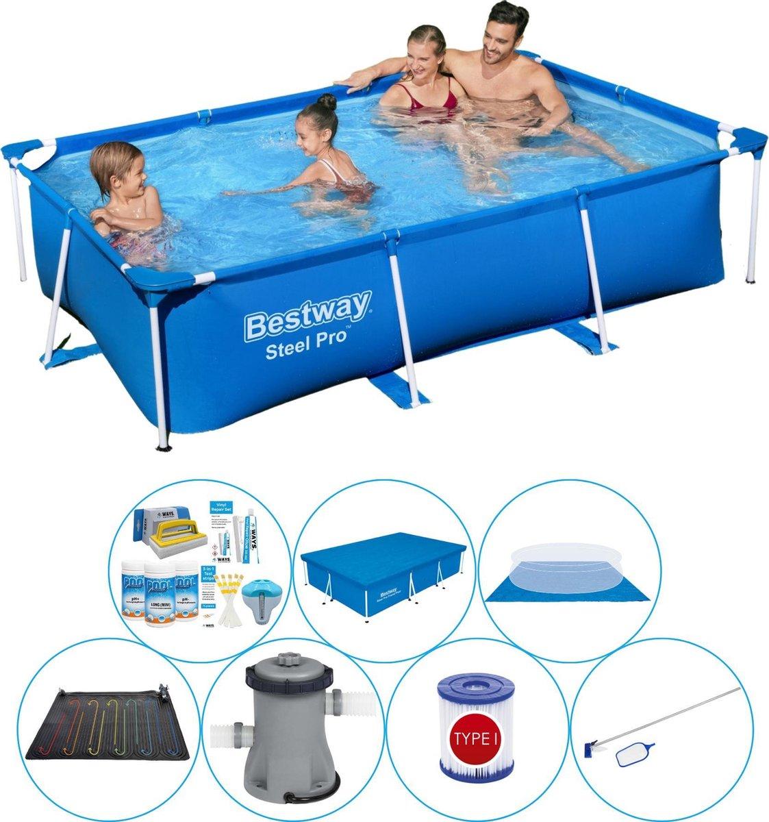 Bestway Steel Pro Rechthoekig Zwembad - 259 x 170 x 61 cm - Blauw - Inclusief Accessoires - Voordeelpakket