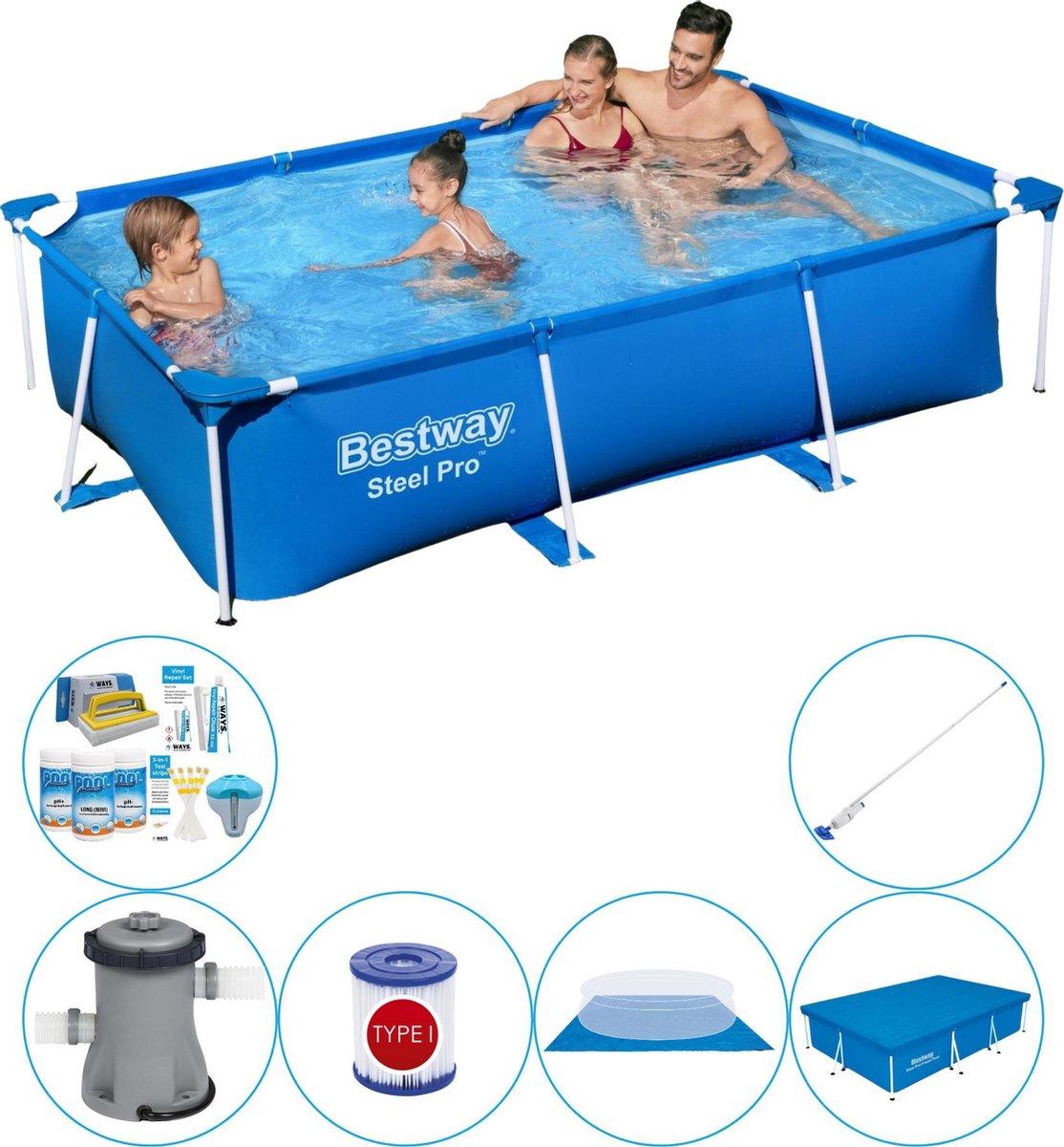 Bestway Steel Pro Rechthoekig Zwembad - 259 x 170 x 61 cm - Blauw - Voordelig Pakket