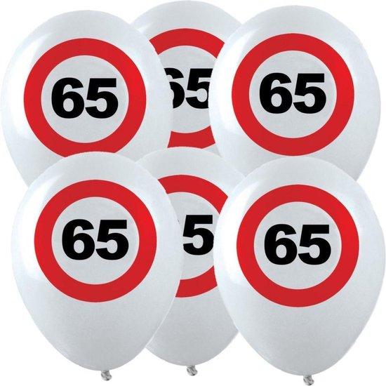 12x Leeftijd verjaardag ballonnen met 65 jaar stopbord opdruk 28 cm