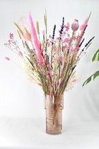 Droogbloemen boeket - Natuurlijk Bloemen - 50 cm - Roze Mix