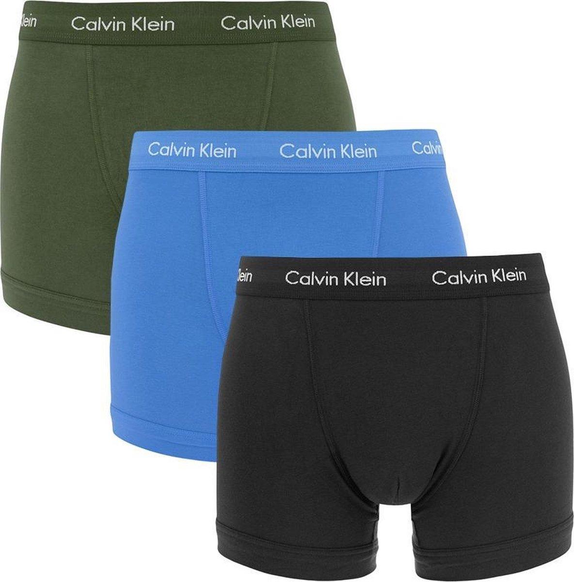 Calvin Klein Trunks (3-pack) - boxers normale lengte - zwart - kobaltblauw en olijfgroen -  Maat: L