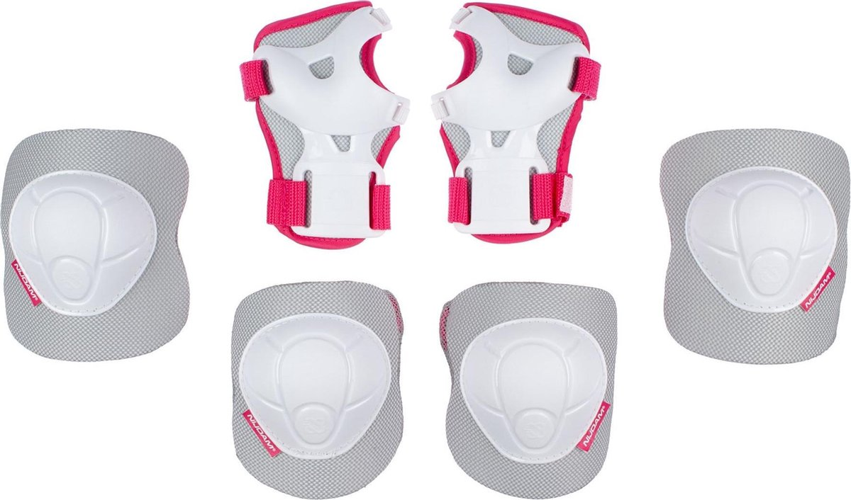 Nijdam Skate Beschermset Kinderen - White Out - Wit/Fuchsia - M