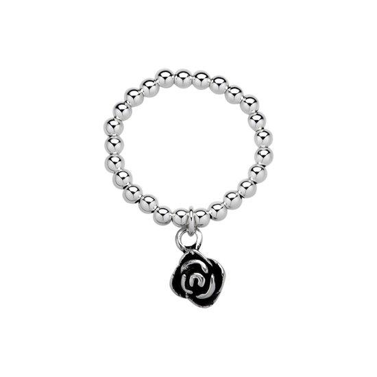 Stretch ring | Zilveren ring, bolletjes met roos
