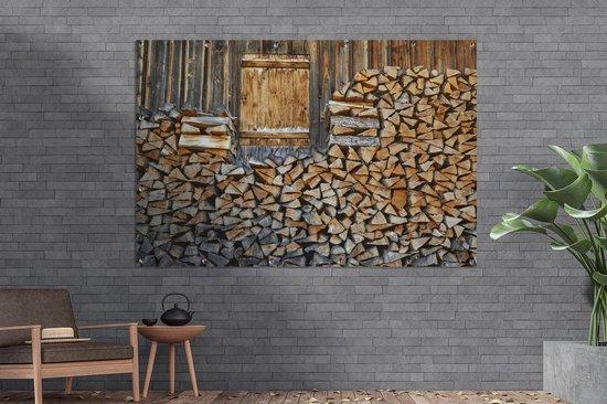 Bol Com Tuinposter Brandhout Brandhout Voor Een Houten Muur Tuinposter 180x120 Cm