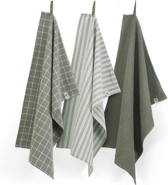 Walra Keukenset Dry w. Cubes Uni, Stripes & Blocks - 3x 50x70 - 100% Katoen - Legergroen