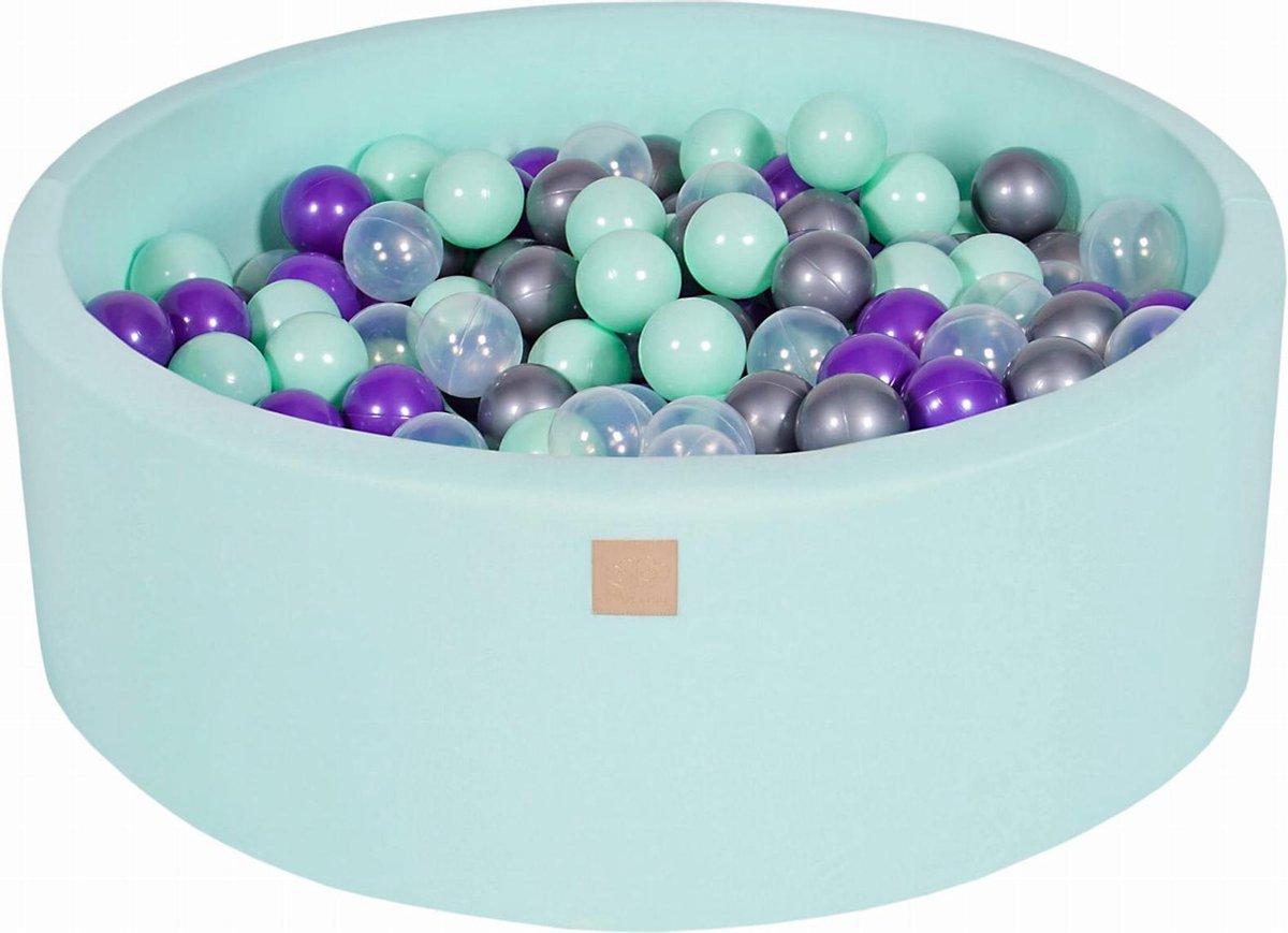 Ronde Ballenbak set incl 300 ballen 90x40cm - Mint: Mint, Transparant, Zilver, Violet