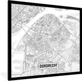 Poster met lijst- Stadskaart Dordrecht - fotolijst zwart - 40x40 cm - Poster met lijst