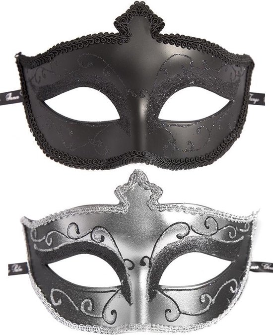 Masks on Masquerade Mask Twin Pack - Black/Silver