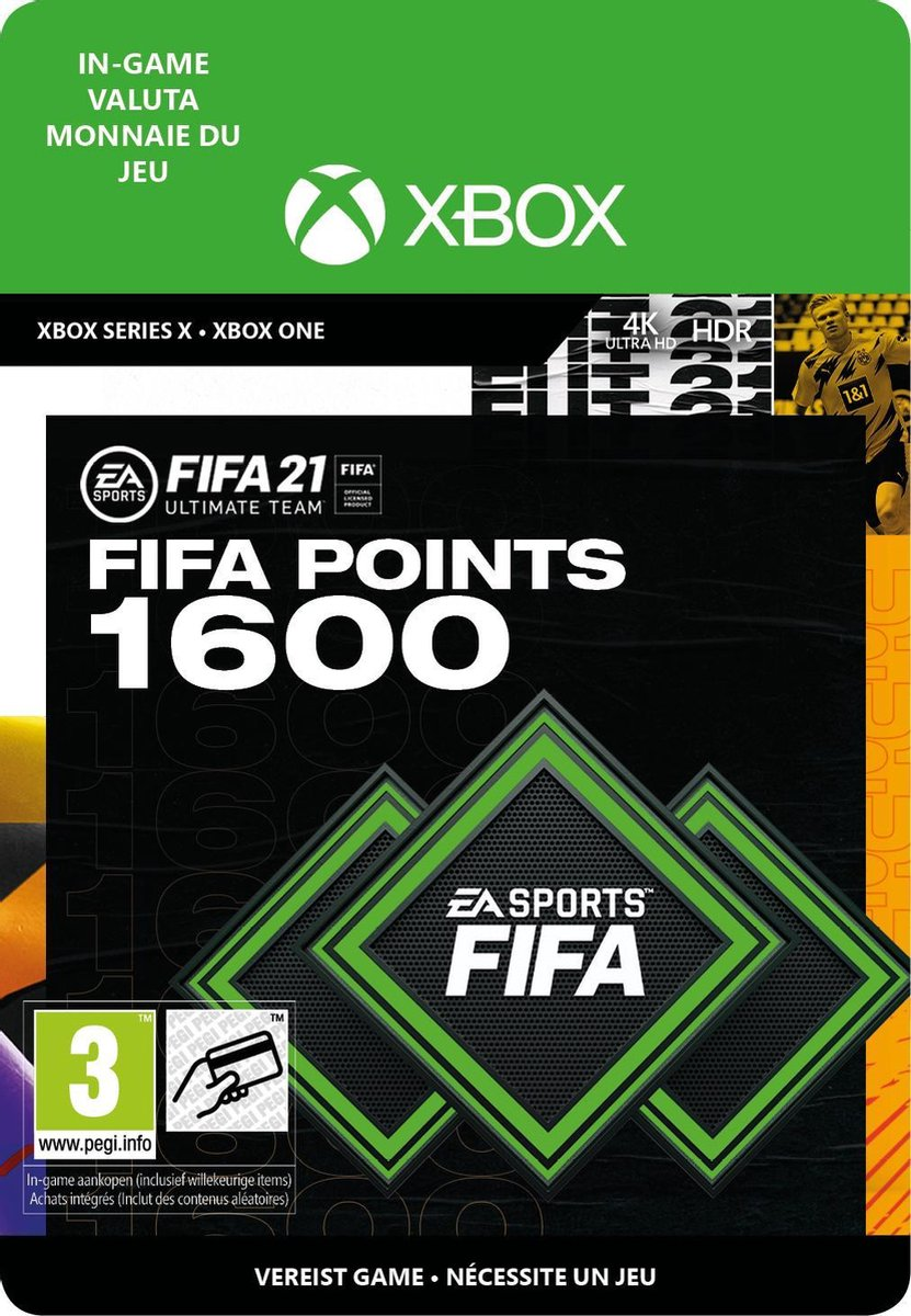 1.600 FUT Punten - FIFA 21 Ultimate Team - In-Game tegoed   Xbox One/Series Download - NL