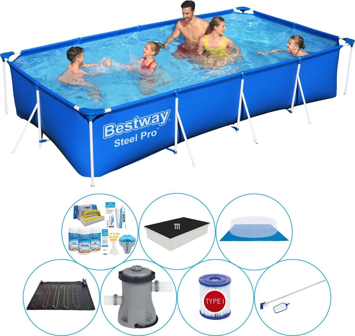 Zwembad Comfort Pakket - Bestway Steel Pro Rechthoekig 400x211x81 cm