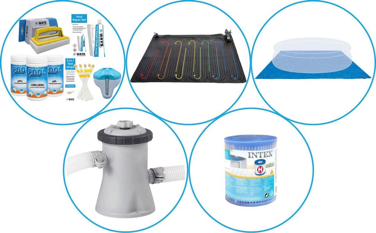 Zwembad Accessoirepakket 4-delig - WAYS Onderhoudspakket & Zwembad verwarming & Filterpomp (28602GS) + Filter & Grondzeil