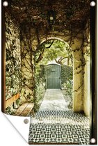 Tuinposter Abstracte Weergave - Abstracte weergave poort met klimop 120x180 cm - Tuindoek/Buitencanvas/Schilderijen voor buiten (tuin decoratie) XXL / Groot formaat!