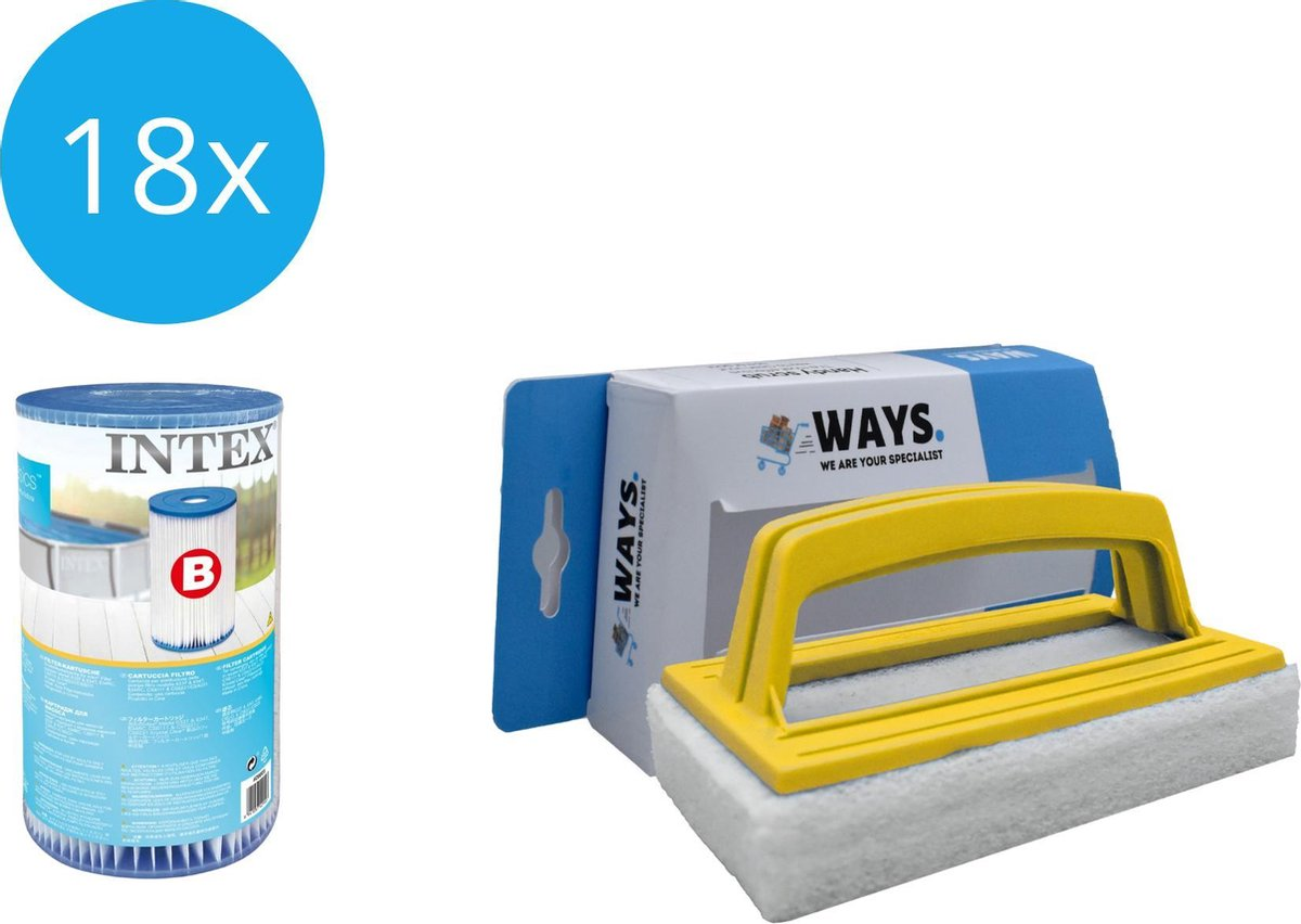 Intex - Filter type B - 18 stuks - Geschikt voor filterpomp 28634GS & WAYS scrubborstel