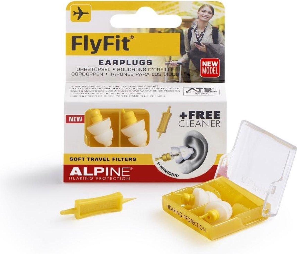 Alpine FlyFit - Vlieg oordoppen - Voorkomt oorpijn - Drukregulerend - Wit - SNR 17 dB - 1 paar