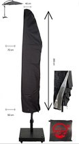 ZweefParasolhoes 265 cm / Beschermhoes Boogparasol / Afdekhoes (boog)Parasol met rits Zwart / 265x50x70x40