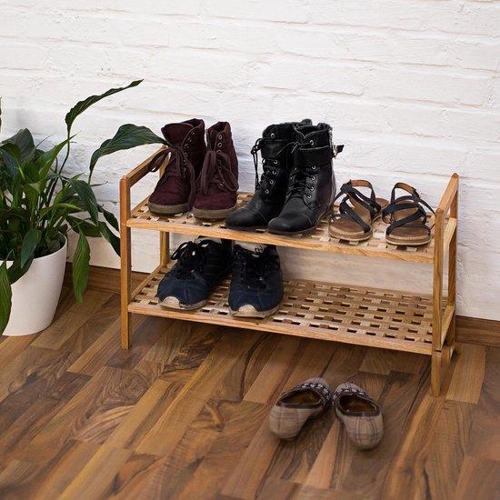 relaxdays 3 x schoenenrek notenhout stapelbaar - 6 etages - voor tot 18 paar schoenen hout