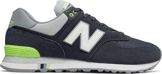 New Balance 574 Sneakers - Maat 41.5 - Unisex - donker blauw/grijs/lime  groen