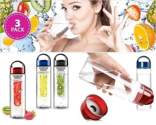 3X Fruit Infuser - Fruitwater Fruit Filter Fles - BPA Vrij- Fruitfilter Sport Fles