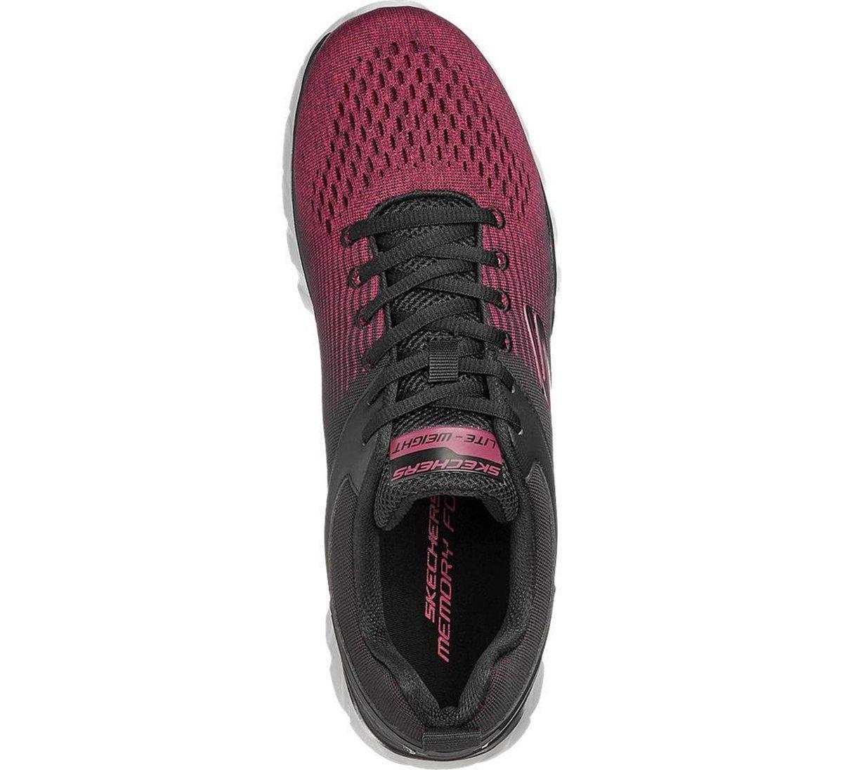 Skechers Heren Zwart/rode sneaker vetersluiting - Maat 44 JhDCU