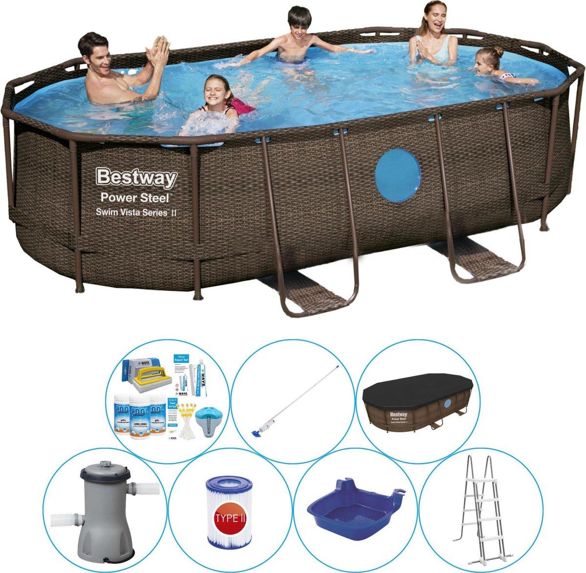 Bestway Power Steel Swim Vista OVAAL 427x250x100 cm - Zwembad Combi Deal