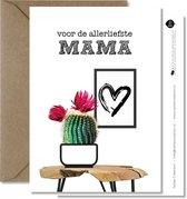 Tallies Cards - greeting  - wenskaarten - Mama - Plant  - Set van 4 ansichtkaarten - moederdag - mama - moeder - Inclusief kraft envelop - 100% Duurzaam