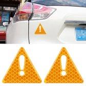 2 STKS Auto-Styling Driehoek Carbon Waarschuwing Sticker Decoratieve Sticker (Geel)