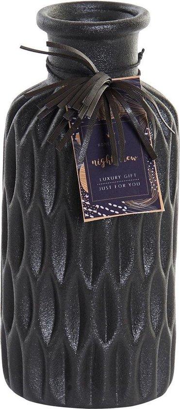 Bloemenvaas van keramiek zwart 8 x 15.5 cm. Prachtige stijlvolle bloemen of takken vaas voor binnen