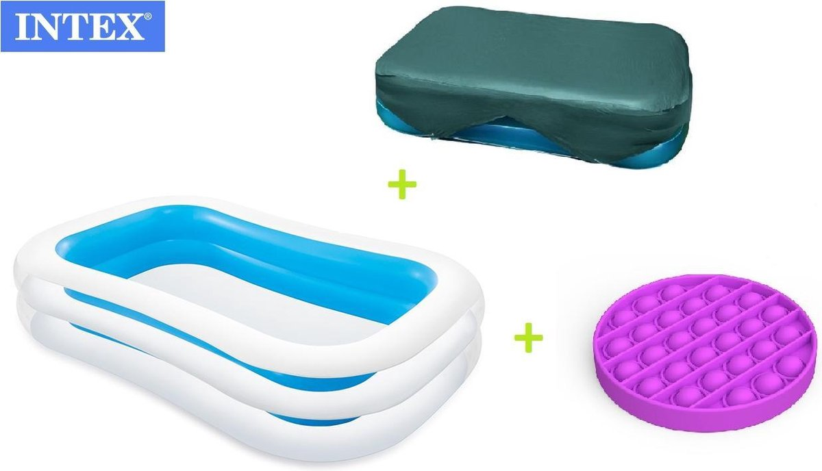 zwembad - zwembad intex afdekzeil - afdekhoes - familie zwembad - opblaasbare zwembad - 262x175x56cm - COMBIDEAL - GRATIS POP IT