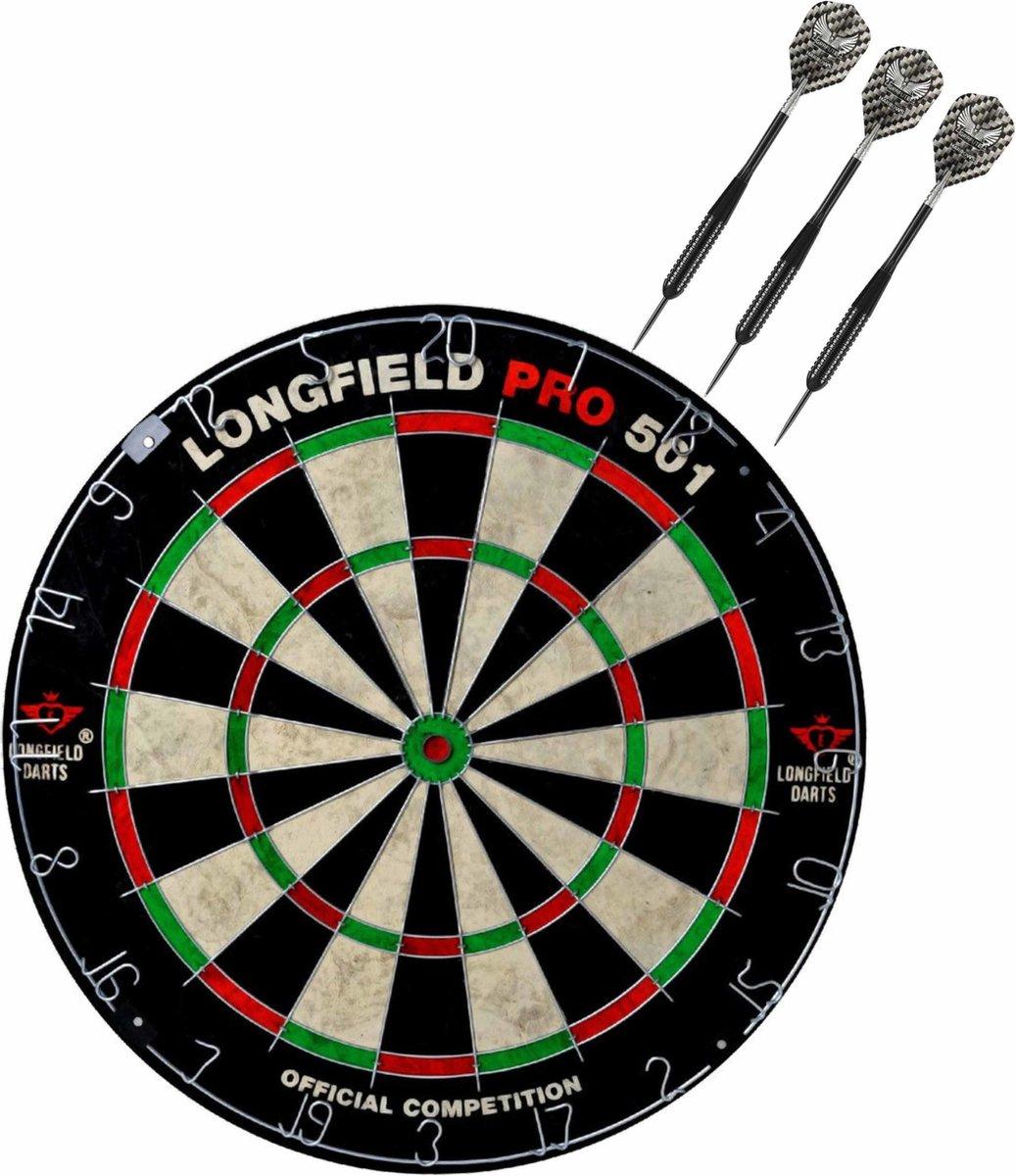 Dartbord set compleet van diameter 45.5 cm met 3x Black Arrow dartpijlen van 21 gram - Sporten darts