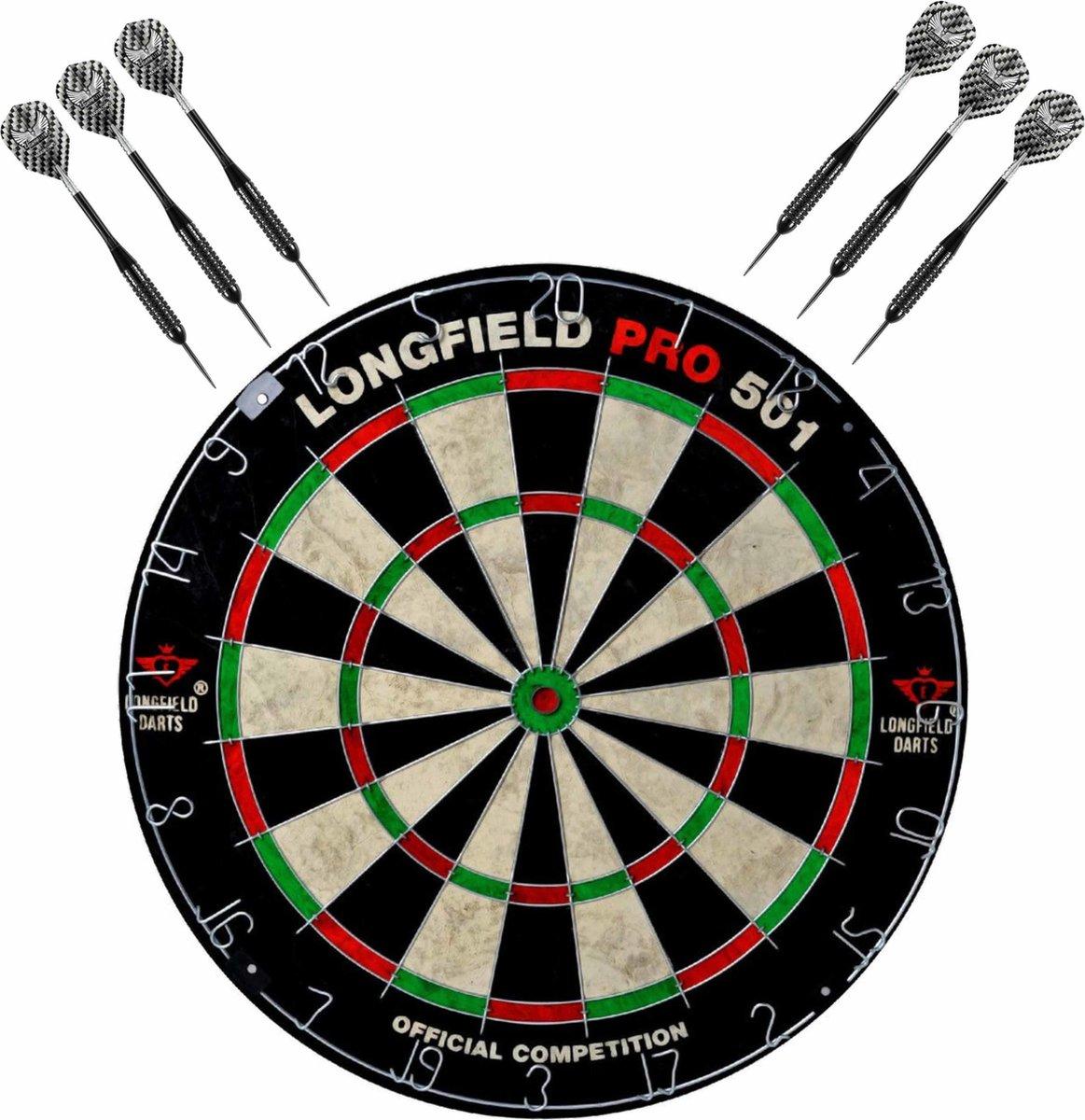 Dartbord set compleet van diameter 45.5 cm met 6x Black Arrow dartpijlen van 25 gram - Sporten darts