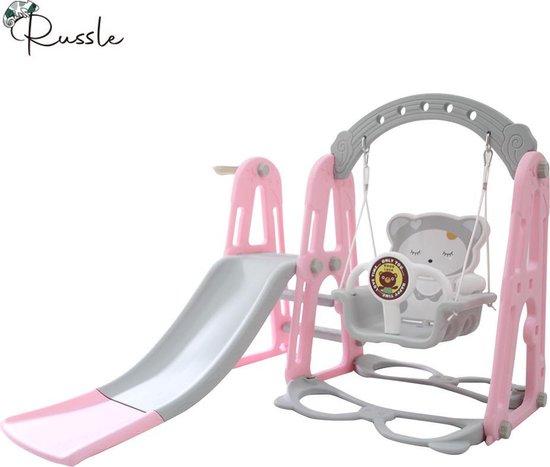 Speeltoestel 3 in 1 Nordic Roze met glijbaan en schommel voor binnen en buiten | Baby | Peuter | Kleuter | Cadeau | 1 jaar | 2 jaar | 3 jaar | Sinterklaas | Kerst | Jongen | Meisje | Schuifaf | Gepersonaliseerd
