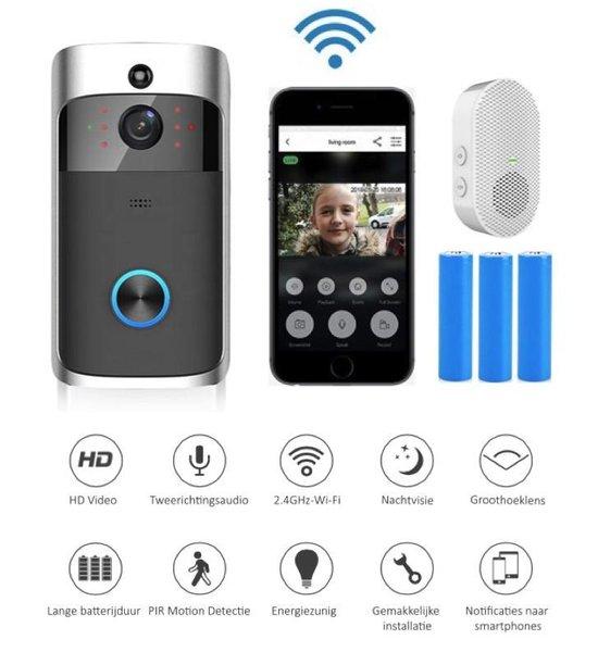 X-One WIFI HD Video Deurbel Draadloos met camera - Geluids- & bewegingssensor - Cloud Storage - Nachtzicht - Infrarood functie - Intercom - Krijg direct pushmeldingen - Complete set incl. oplaadbare batterijen,gong,handleiding (NL-EN) & hulpservice